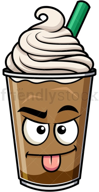 Sarcastic iced coffee emoticon. PNG - JPG and vector EPS file formats (infinitely scalable). Image isolated on transparent background.
