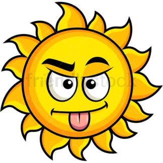 Sarcastic sun emoticon. PNG - JPG and vector EPS file formats (infinitely scalable). Image isolated on transparent background.
