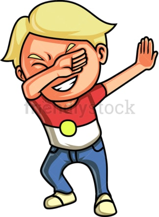 Blond kid dabbing. PNG - JPG and vector EPS (infinitely scalable).