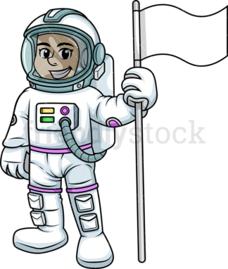 Female cosmonaut holding flag. PNG - JPG and vector EPS (infinitely scalable). Image isolated on transparent background.