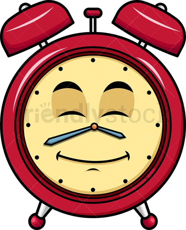 Happy looking alarm clock emoticon. PNG - JPG and vector EPS file formats (infinitely scalable). Image isolated on transparent background.