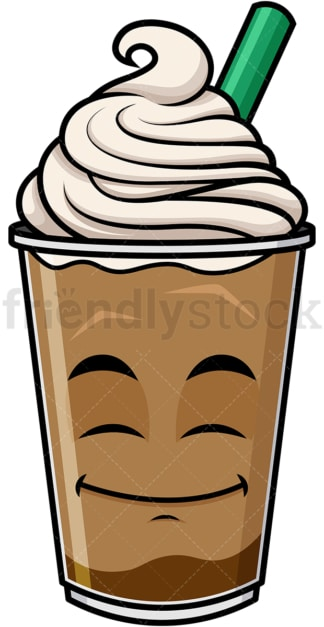 Happy looking iced coffee emoticon. PNG - JPG and vector EPS file formats (infinitely scalable). Image isolated on transparent background.