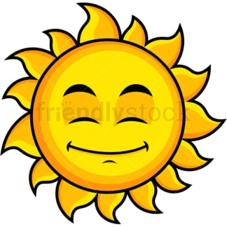 Happy looking sun emoticon. PNG - JPG and vector EPS file formats (infinitely scalable). Image isolated on transparent background.