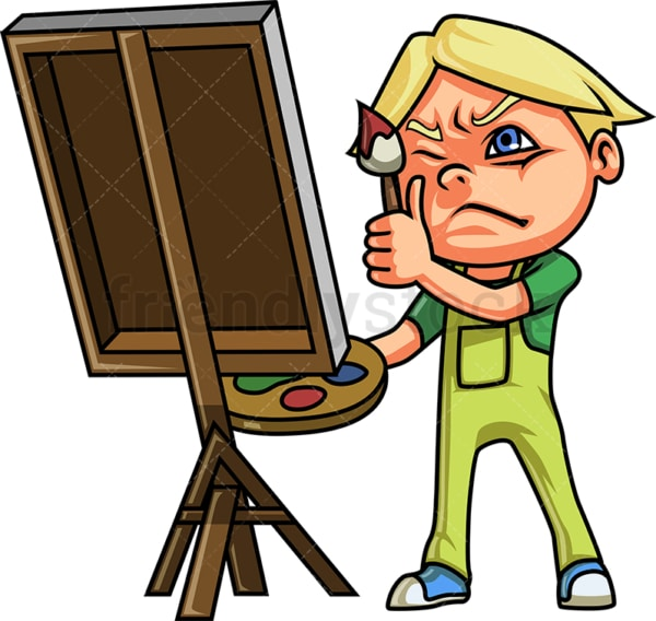 Little boy painting on canvas. PNG - JPG and vector EPS (infinitely scalable).