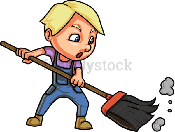 Little kid sweeping. PNG - JPG and vector EPS (infinitely scalable).