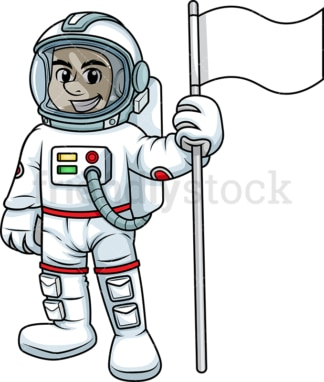 Male astronaut holding white flag. PNG - JPG and vector EPS (infinitely scalable). Image isolated on transparent background.