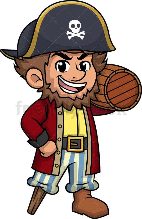 Pirate carrying beer keg. PNG - JPG and vector EPS (infinitely scalable). Image isolated on transparent background.