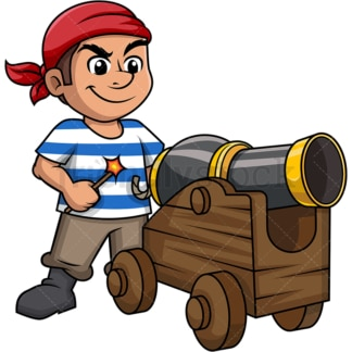 Pirate about to fire a cannon on deck. PNG - JPG and vector EPS (infinitely scalable).