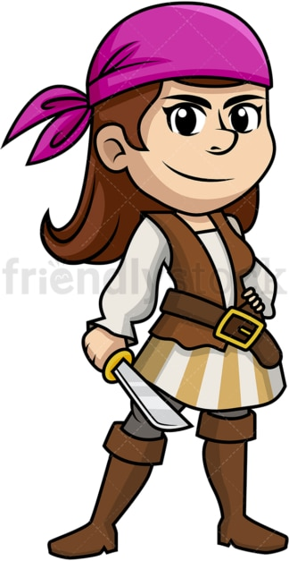 Female pirate holding sword. PNG - JPG and vector EPS (infinitely scalable).