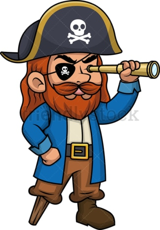 Pirate using telescope to see into the distance. PNG - JPG and vector EPS (infinitely scalable).