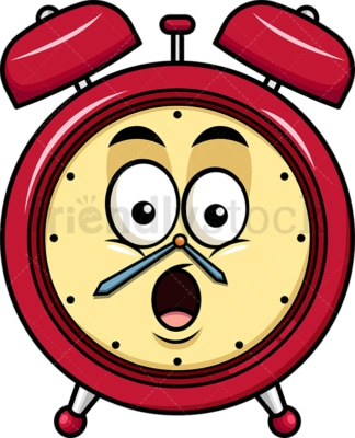 Surprised alarm clock emoticon. PNG - JPG and vector EPS file formats (infinitely scalable). Image isolated on transparent background.