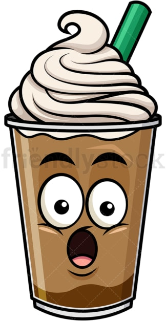 Surprised iced coffee emoticon. PNG - JPG and vector EPS file formats (infinitely scalable). Image isolated on transparent background.