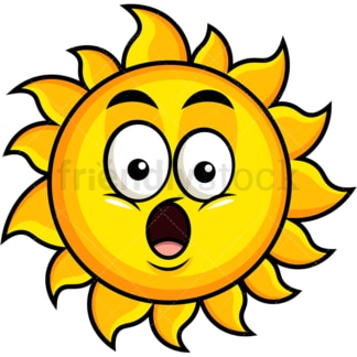 Surprised sun emoticon. PNG - JPG and vector EPS file formats (infinitely scalable). Image isolated on transparent background.