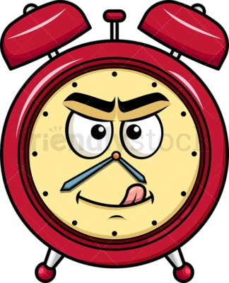 Evil look alarm clock emoticon. PNG - JPG and vector EPS file formats (infinitely scalable). Image isolated on transparent background.