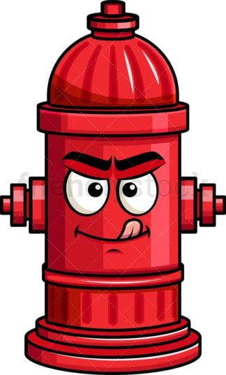 Evil look fire hydrant emoticon. PNG - JPG and vector EPS file formats (infinitely scalable). Image isolated on transparent background.