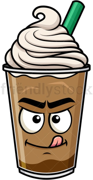 Evil look iced coffee emoticon. PNG - JPG and vector EPS file formats (infinitely scalable). Image isolated on transparent background.