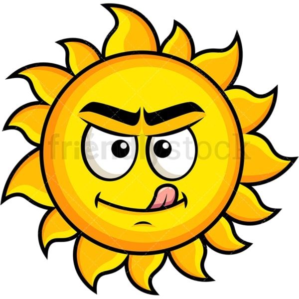 Evil look sun emoticon. PNG - JPG and vector EPS file formats (infinitely scalable). Image isolated on transparent background.