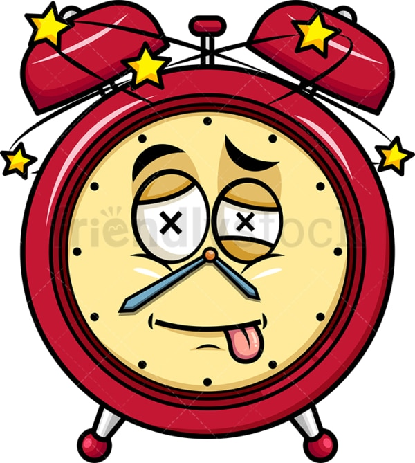 Beaten up alarm clock emoticon. PNG - JPG and vector EPS file formats (infinitely scalable). Image isolated on transparent background.