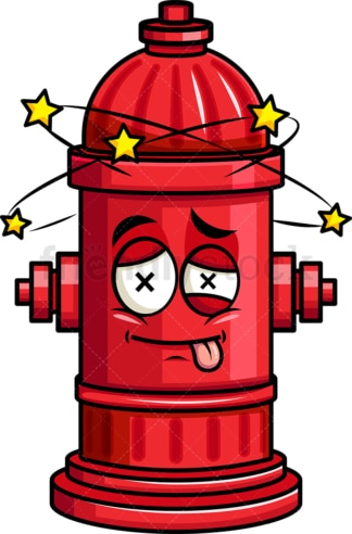 Beaten up fire hydrant emoticon. PNG - JPG and vector EPS file formats (infinitely scalable). Image isolated on transparent background.