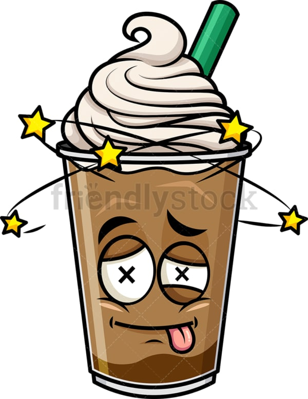 Beaten up iced coffee emoticon. PNG - JPG and vector EPS file formats (infinitely scalable). Image isolated on transparent background.