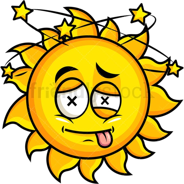 Beaten up sun emoticon. PNG - JPG and vector EPS file formats (infinitely scalable). Image isolated on transparent background.