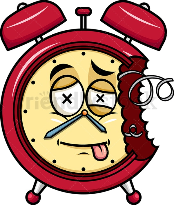 Broken down alarm clock emoticon. PNG - JPG and vector EPS file formats (infinitely scalable). Image isolated on transparent background.