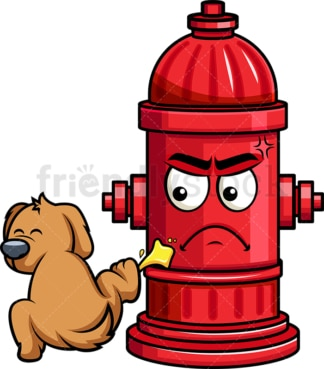 Dog pissing on fire hydrant emoticon. PNG - JPG and vector EPS file formats (infinitely scalable). Image isolated on transparent background.