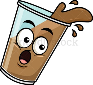 Spilled iced coffee emoticon. PNG - JPG and vector EPS file formats (infinitely scalable). Image isolated on transparent background.