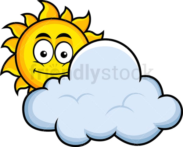 Sun behind cloud emoticon. PNG - JPG and vector EPS file formats (infinitely scalable). Image isolated on transparent background.