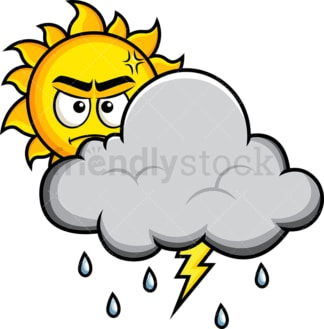 Angry sun behind thunderstorm cloud. PNG - JPG and vector EPS file formats (infinitely scalable). Image isolated on transparent background.
