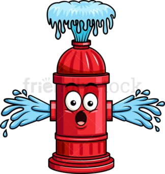 Fire hydrant emoticon losing water. PNG - JPG and vector EPS file formats (infinitely scalable). Image isolated on transparent background.