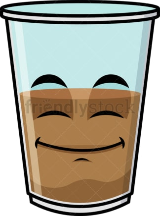 Half full iced coffee emoticon. PNG - JPG and vector EPS file formats (infinitely scalable). Image isolated on transparent background.