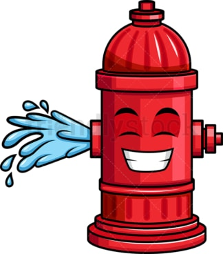 Giggling fire hydrant emoticon. PNG - JPG and vector EPS file formats (infinitely scalable). Image isolated on transparent background.
