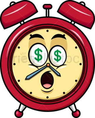 Money eyes alarm clock emoticon. PNG - JPG and vector EPS file formats (infinitely scalable). Image isolated on transparent background.