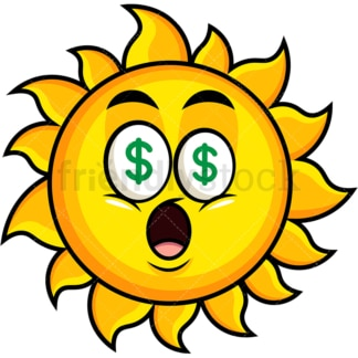 Money eyes sun emoticon. PNG - JPG and vector EPS file formats (infinitely scalable). Image isolated on transparent background.