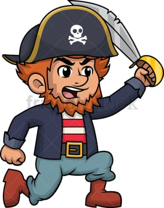 Angry pirate charging. PNG - JPG and vector EPS (infinitely scalable). Image isolated on transparent background.