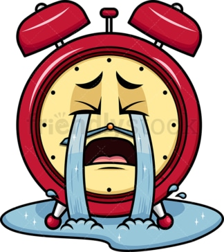 Crying with wailing tears alarm clock emoticon. PNG - JPG and vector EPS file formats (infinitely scalable). Image isolated on transparent background.