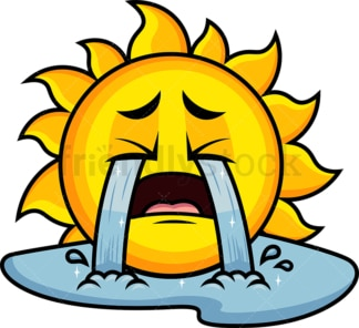 Crying with wailing tears sun emoticon. PNG - JPG and vector EPS file formats (infinitely scalable). Image isolated on transparent background.
