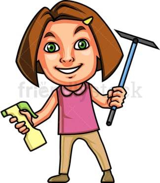 Girl holding cleaning tools. PNG - JPG and vector EPS (infinitely scalable).