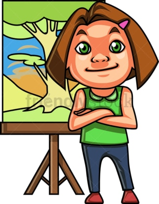 Little girl having painted a tree. PNG - JPG and vector EPS (infinitely scalable).