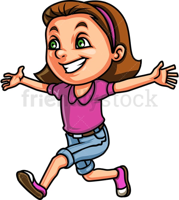 Little girl running for a hug. PNG - JPG and vector EPS (infinitely scalable). Image isolated on transparent background.