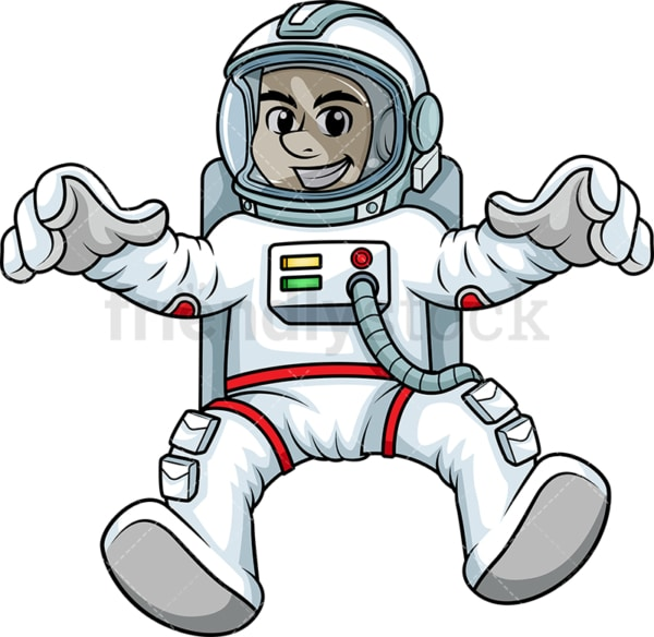 Male cosmonaut floating in space backwards. PNG - JPG and vector EPS (infinitely scalable). Image isolated on transparent background.