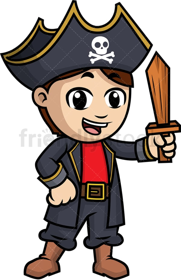 Pirate boy holding wooden sword. PNG - JPG and vector EPS (infinitely scalable).