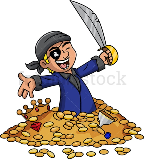 Pirate cheering while buried in treasure. PNG - JPG and vector EPS (infinitely scalable).