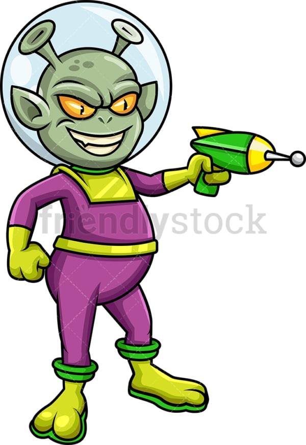 Martian alien pointing laser gun. Transparent PNG - JPG - vector EPS (infinitely scalable).
