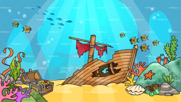 Underwater shipwreck background in 16:9 aspect ratio. PNG - JPG and vector EPS file formats (infinitely scalable).