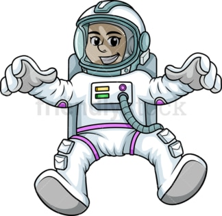 Woman astronaut floating in space. PNG - JPG and vector EPS (infinitely scalable). Image isolated on transparent background.