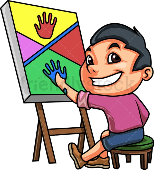 Kid doing hand painting. PNG - JPG and vector EPS (infinitely scalable).