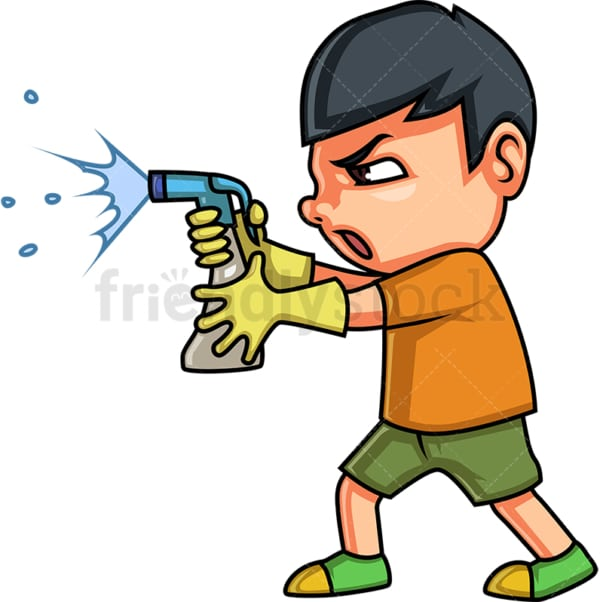 Little boy cleaning with style. PNG - JPG and vector EPS (infinitely scalable).