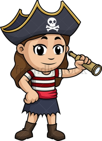 Little girl pirate with spyglass. PNG - JPG and vector EPS (infinitely scalable). Image isolated on transparent background.